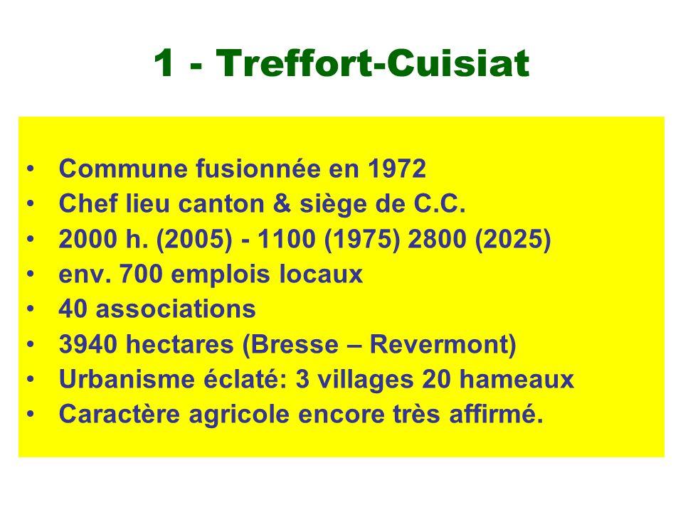 1 - Treffort-Cuisiat Commune fusionnée en 1972 Chef lieu canton & siège de C.C. 2000 h. (2005) - 1100 (1975) 2800 (2025) env. 700 emplois locaux 40 as