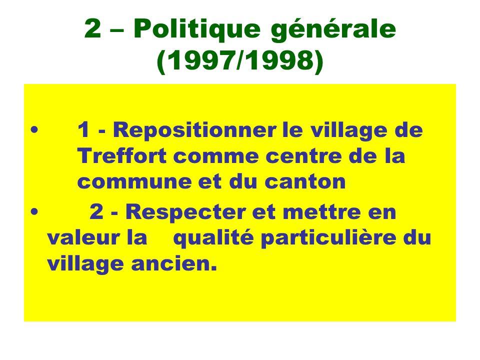 2 – Politique générale (1997/1998) 1 - Repositionner le village de Treffort comme centre de la commune et du canton 2 - Respecter et mettre en valeur la qualité particulière du village ancien.