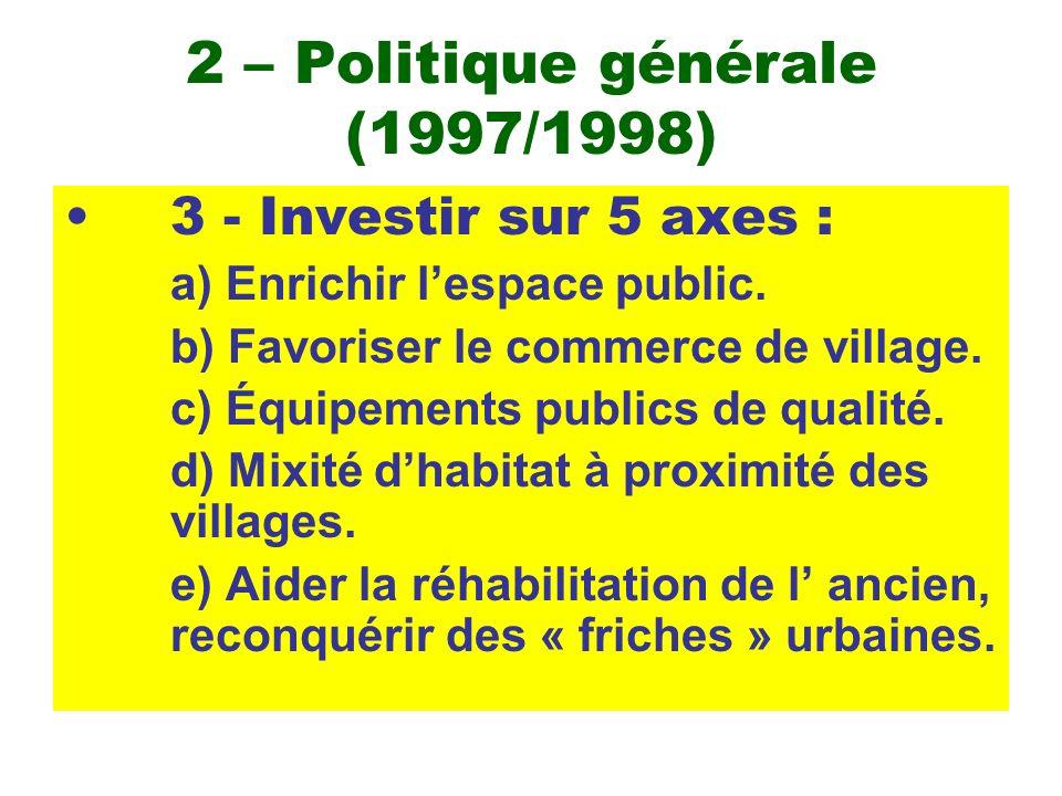 2 – Politique générale (1997/1998) 3 - Investir sur 5 axes : a) Enrichir lespace public. b) Favoriser le commerce de village. c) Équipements publics d