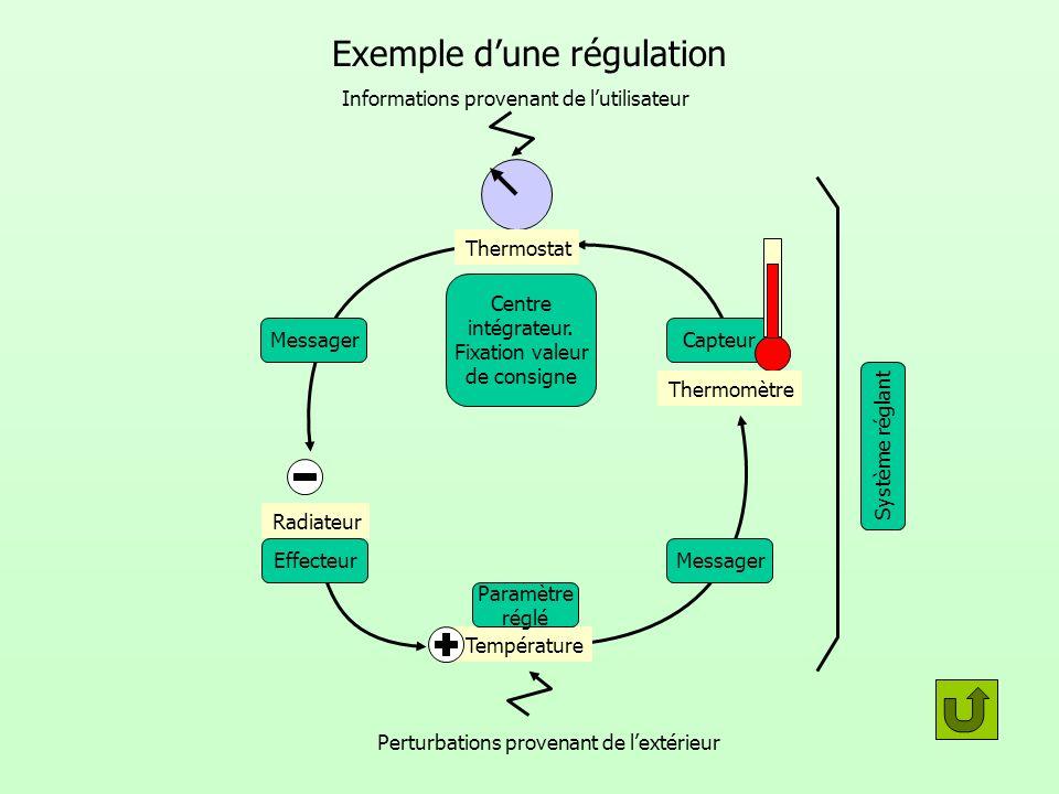 Exemple dune régulation Messager Centre intégrateur. Fixation valeur de consigne Capteur EffecteurMessager Thermomètre Thermostat Radiateur Températur