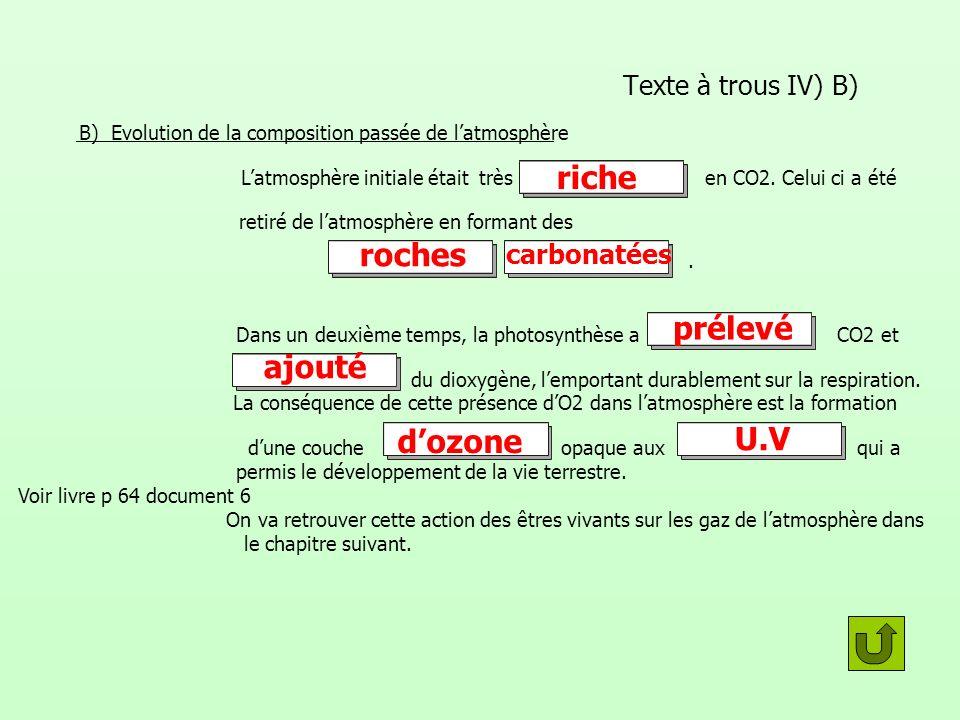Texte à trous IV) B) B) Evolution de la composition passée de latmosphère Latmosphère initiale était très en CO2. Celui ci a été retiré de latmosphère