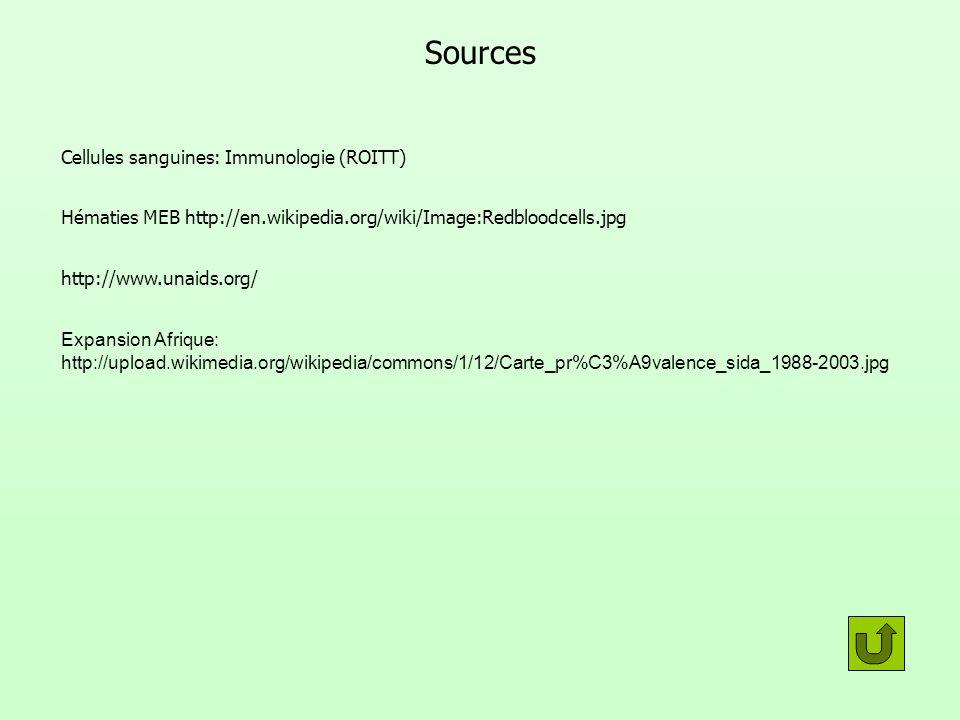 Sources Cellules sanguines: Immunologie (ROITT) Hématies MEB http://en.wikipedia.org/wiki/Image:Redbloodcells.jpg http://www.unaids.org/ Expansion Afr