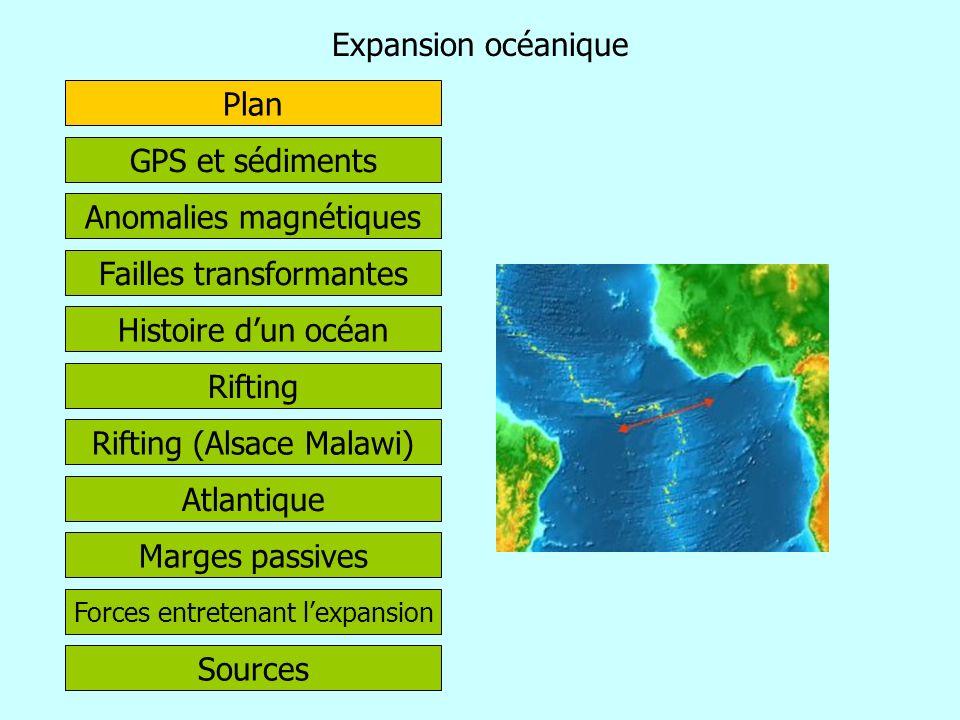Expansion océanique Histoire dun océan Failles transformantes Rifting (Alsace Malawi) GPS et sédiments Atlantique Rifting Marges passives Plan Anomali