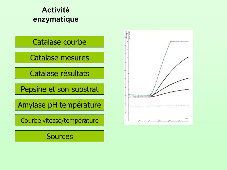 Activité enzymatique Catalase courbe Catalase résultats Catalase mesures Pepsine et son substrat Amylase pH température Courbe vitesse/température Sources