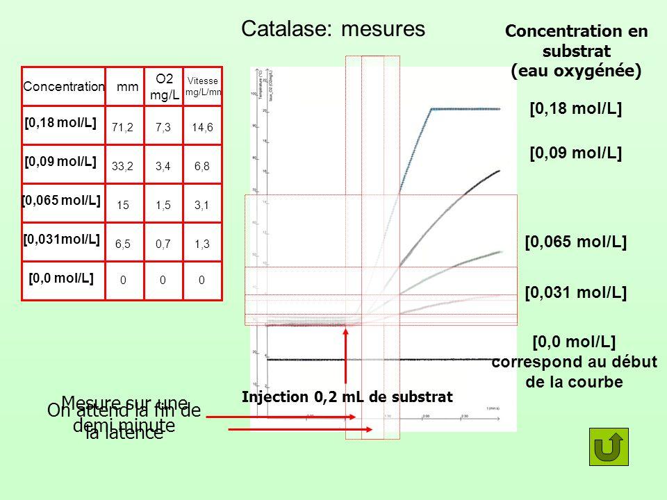 Catalase: mesures Injection 0,2 mL de substrat Concentration en substrat (eau oxygénée) Concentrationmm O2 mg/L Vitesse mg/L/mn [0,0 mol/L] correspond au début de la courbe [0,0 mol/L] 000 [0,031 mol/L] 0,7 6,51,3 [0,065 mol/L] 1,515 3,1 [0,09 mol/L] 3,433,26,8 [0,18 mol/L] 7,371,2 14,6 Mesure sur une demi minute On attend la fin de la latence