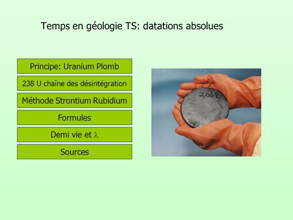 Temps en géologie TS: datations absolues Sources Méthode Strontium Rubidium Principe: Uranium Plomb Demi vie et Formules 238 U chaîne des désintégrati