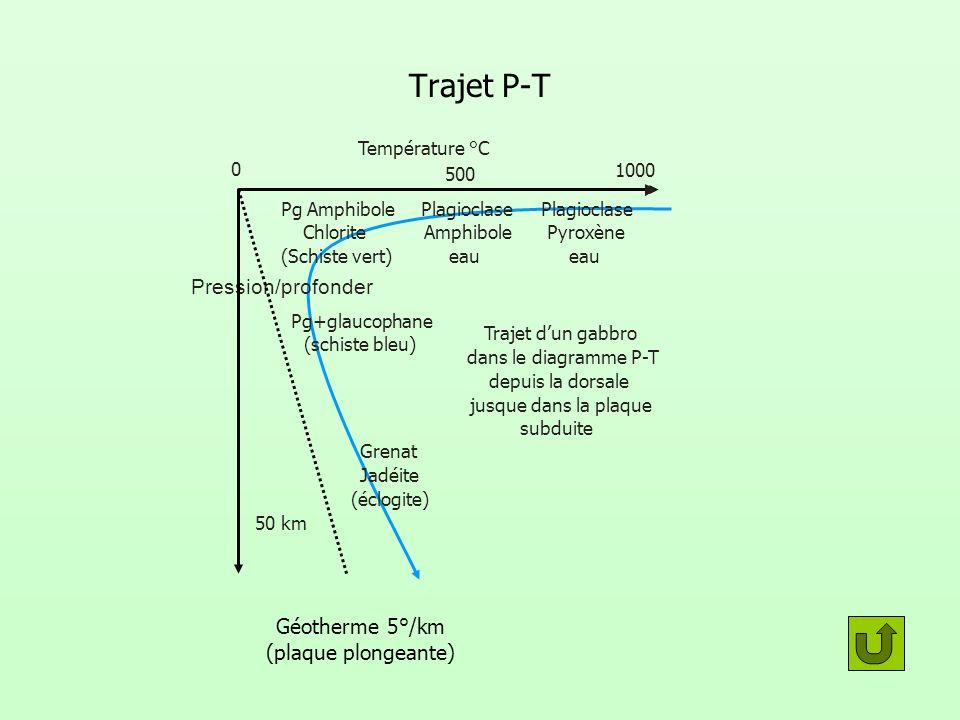 Trajet P-T Pression/profonder Température °C 0 500 1000 50 km Trajet dun gabbro dans le diagramme P-T depuis la dorsale jusque dans la plaque subduite