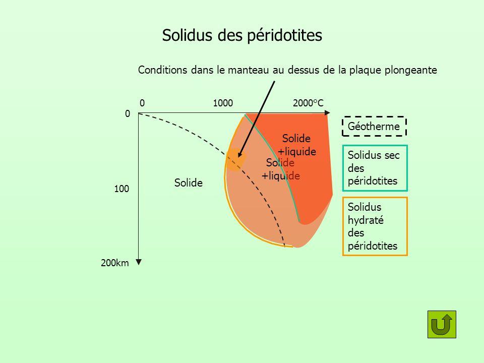 Solide +liquide Solide +liquide Solidus des péridotites 010002000°C 200km 100 0 Géotherme Solidus sec des péridotites Solidus hydraté des péridotites