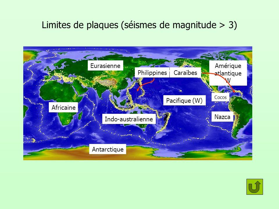 Limites de plaques (séismes de magnitude > 3) Africaine Indo-australienne Pacifique (W) Nazca Cocos Amérique atlantique W Eurasienne Antarctique Caraï