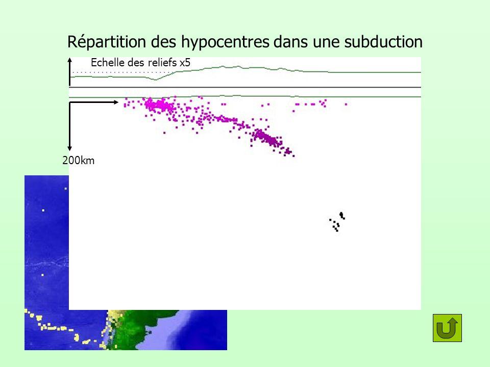 Répartition des hypocentres dans une subduction 200km Echelle des reliefs x5