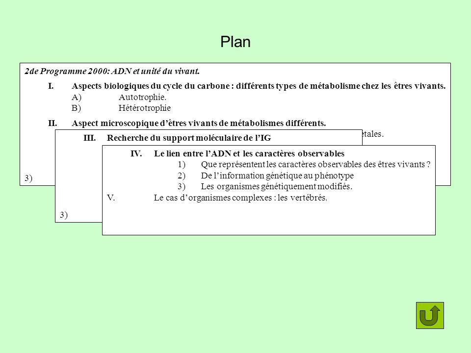 Plan 2de Programme 2000: ADN et unité du vivant. I.Aspects biologiques du cycle du carbone : différents types de métabolisme chez les êtres vivants. A