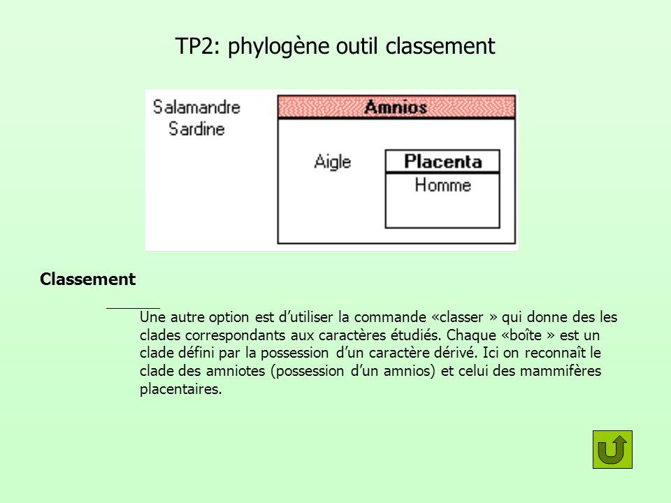TP2: phylogène outil classement Classement Une autre option est dutiliser la commande «classer » qui donne des les clades correspondants aux caractère