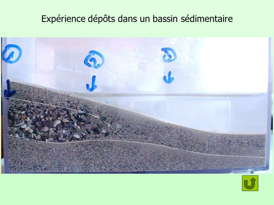 Expérience dépôts dans un bassin sédimentaire