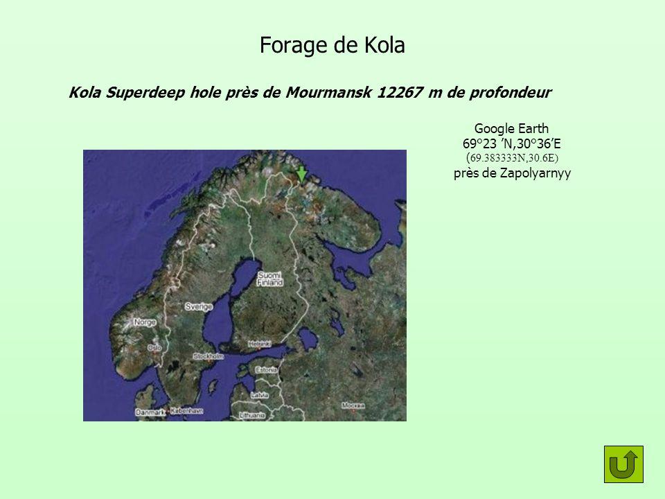 Forage de Kola Kola Superdeep hole près de Mourmansk 12267 m de profondeur Google Earth 69°23 N,30°36E ( 69.383333N,30.6E) près de Zapolyarnyy