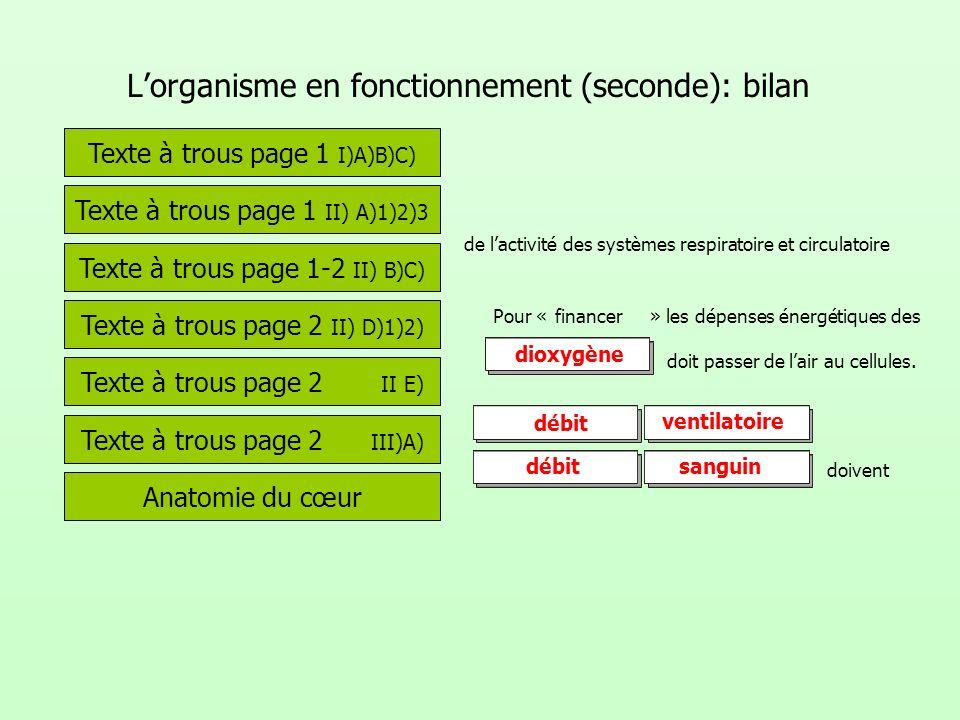 Lorganisme en fonctionnement (seconde): bilan Texte à trous page 1 I)A)B)C) Texte à trous page 1 II) A)1)2)3 de lactivité des systèmes respiratoire et