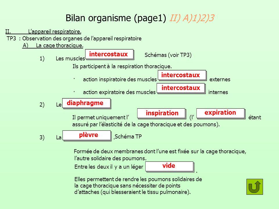 Bilan organisme (page1) II) A)1)2)3 II. Lappareil respiratoire. TP3 : Observation des organes de lappareil respiratoire A) La cage thoracique. 1) Les