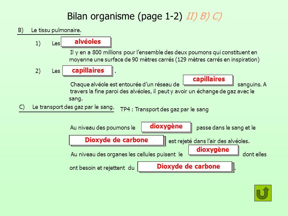 Bilan organisme (page 1-2) II) B) C) B) Le tissu pulmonaire. 1) Les Il y en a 800 millions pour lensemble des deux poumons qui constituent en moyenne