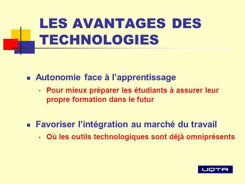 LES AVANTAGES DES TECHNOLOGIES Autonomie face à lapprentissage Pour mieux préparer les étudiants à assurer leur propre formation dans le futur Favoriser lintégration au marché du travail Où les outils technologiques sont déjà omniprésents