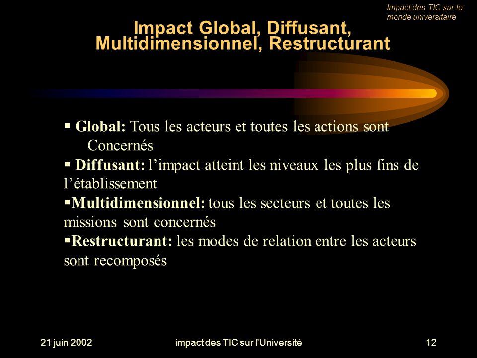 21 juin 2002impact des TIC sur l Université12 Impact Global, Diffusant, Multidimensionnel, Restructurant Impact des TIC sur le monde universitaire Global: Tous les acteurs et toutes les actions sont Concernés Diffusant: limpact atteint les niveaux les plus fins de létablissement Multidimensionnel: tous les secteurs et toutes les missions sont concernés Restructurant: les modes de relation entre les acteurs sont recomposés