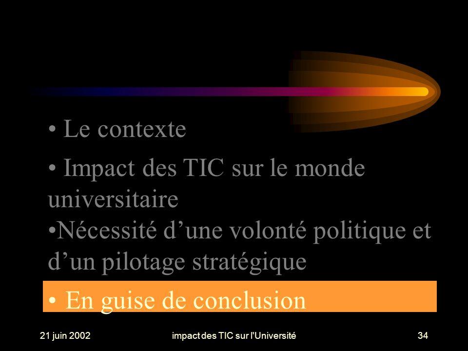 21 juin 2002impact des TIC sur l Université34 En guise de conclusion Le contexte Impact des TIC sur le monde universitaire Nécessité dune volonté politique et dun pilotage stratégique