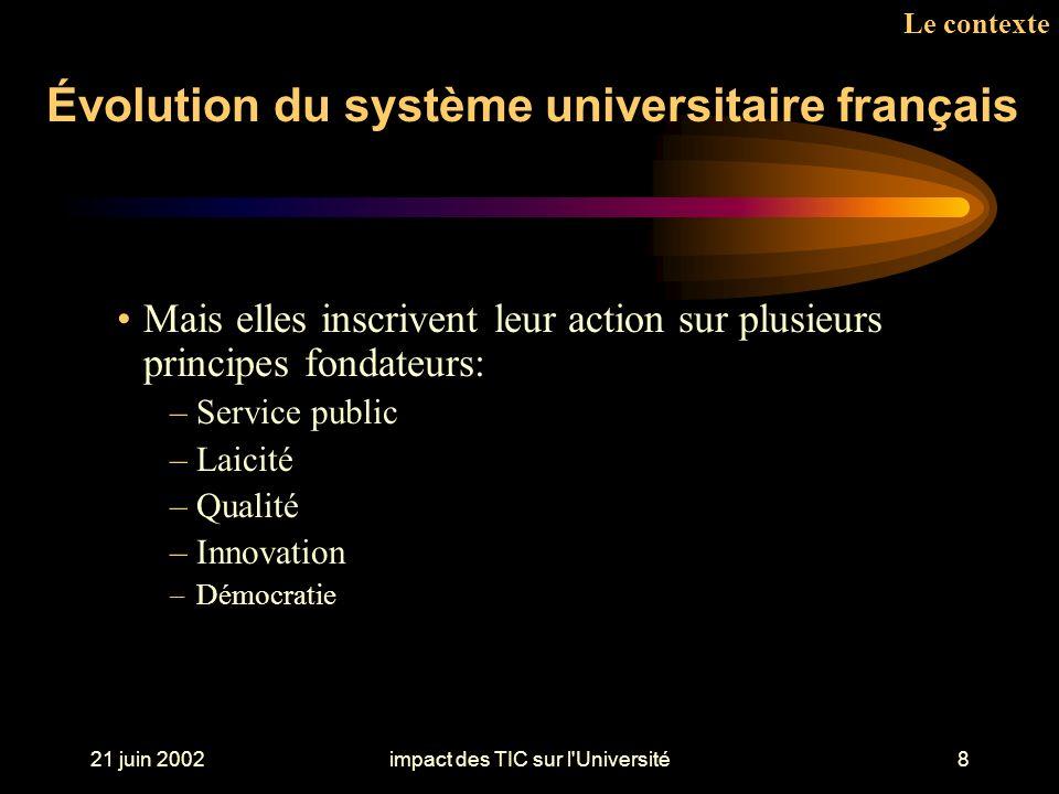 21 juin 2002impact des TIC sur l Université8 Le contexte Mais elles inscrivent leur action sur plusieurs principes fondateurs: –Service public –Laicité –Qualité –Innovation –Démocratie Évolution du système universitaire français