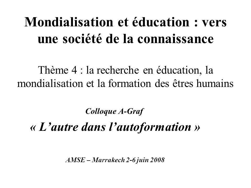 Mondialisation et éducation : vers une société de la connaissance Thème 4 : la recherche en éducation, la mondialisation et la formation des êtres humains Colloque A-Graf « Lautre dans lautoformation » AMSE – Marrakech 2-6 juin 2008