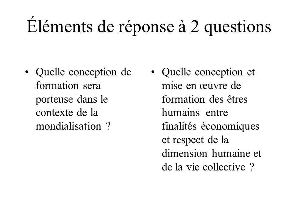 Éléments de réponse à 2 questions Quelle conception de formation sera porteuse dans le contexte de la mondialisation .