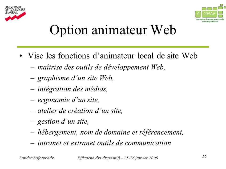 15 Sandra SafourcadeEfficacité des dispositifs - 15-16 janvier 2009 Option animateur Web Vise les fonctions danimateur local de site Web –maîtrise des