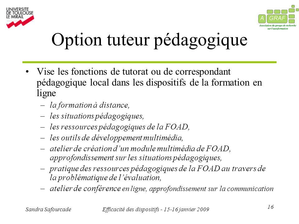 16 Sandra SafourcadeEfficacité des dispositifs - 15-16 janvier 2009 Option tuteur pédagogique Vise les fonctions de tutorat ou de correspondant pédago