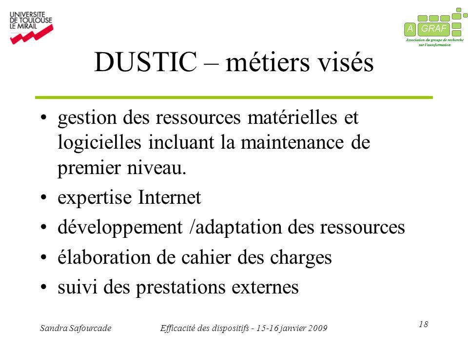 18 Sandra SafourcadeEfficacité des dispositifs - 15-16 janvier 2009 DUSTIC – métiers visés gestion des ressources matérielles et logicielles incluant la maintenance de premier niveau.