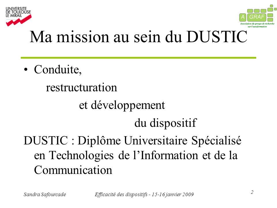 2 Sandra SafourcadeEfficacité des dispositifs - 15-16 janvier 2009 Ma mission au sein du DUSTIC Conduite, restructuration et développement du disposit