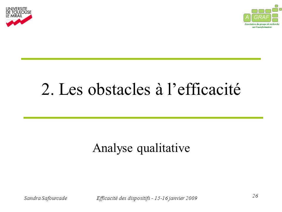 26 Sandra SafourcadeEfficacité des dispositifs - 15-16 janvier 2009 2. Les obstacles à lefficacité Analyse qualitative