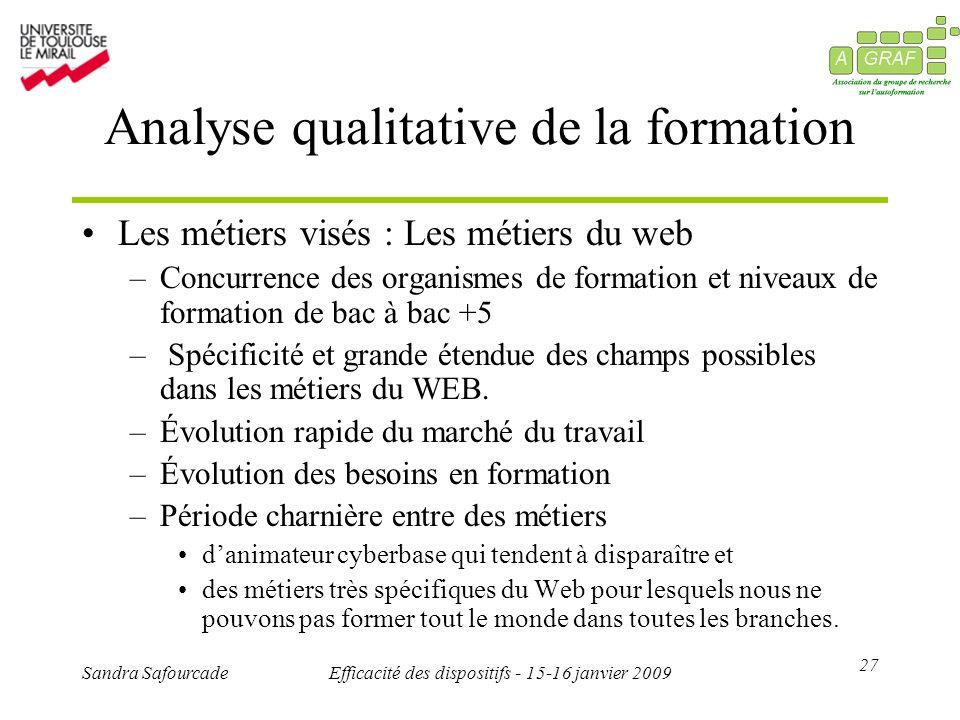 27 Sandra SafourcadeEfficacité des dispositifs - 15-16 janvier 2009 Analyse qualitative de la formation Les métiers visés : Les métiers du web –Concur