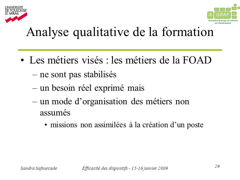 29 Sandra SafourcadeEfficacité des dispositifs - 15-16 janvier 2009 Analyse qualitative de la formation Les métiers visés : les métiers de la FOAD –ne