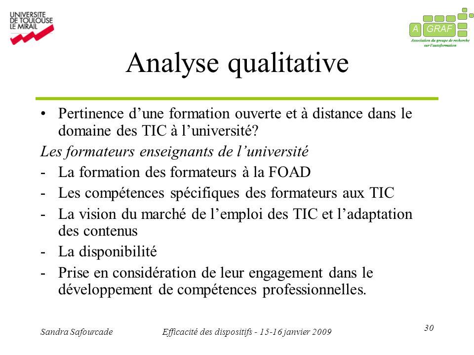 30 Sandra SafourcadeEfficacité des dispositifs - 15-16 janvier 2009 Analyse qualitative Pertinence dune formation ouverte et à distance dans le domaine des TIC à luniversité.