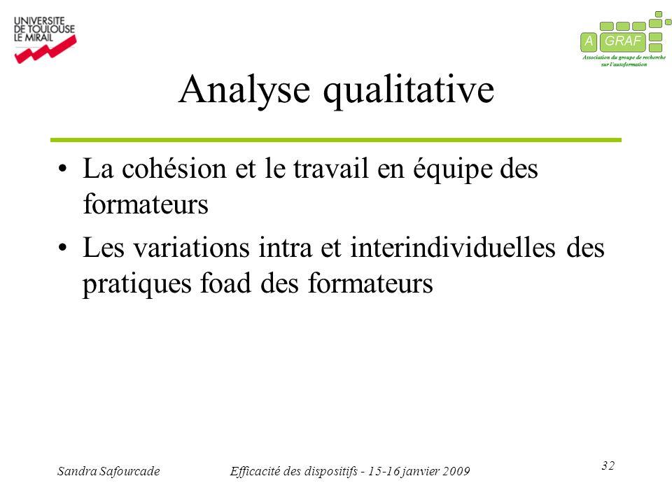 32 Sandra SafourcadeEfficacité des dispositifs - 15-16 janvier 2009 Analyse qualitative La cohésion et le travail en équipe des formateurs Les variati