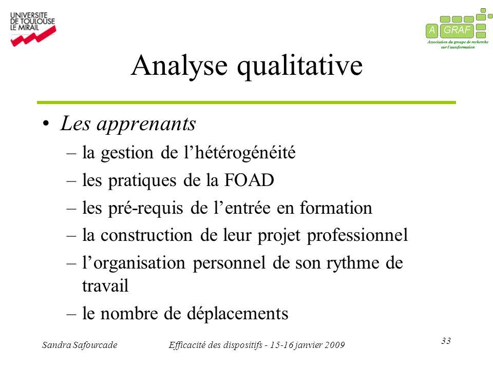 33 Sandra SafourcadeEfficacité des dispositifs - 15-16 janvier 2009 Analyse qualitative Les apprenants –la gestion de lhétérogénéité –les pratiques de