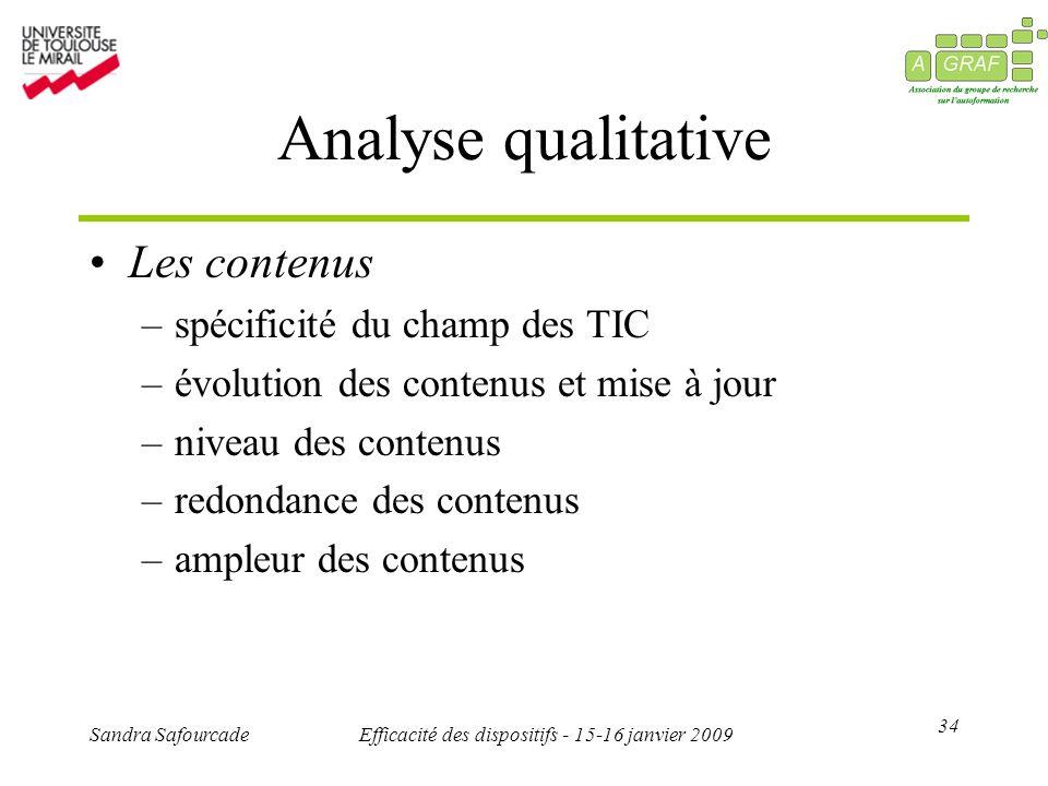 34 Sandra SafourcadeEfficacité des dispositifs - 15-16 janvier 2009 Analyse qualitative Les contenus –spécificité du champ des TIC –évolution des contenus et mise à jour –niveau des contenus –redondance des contenus –ampleur des contenus