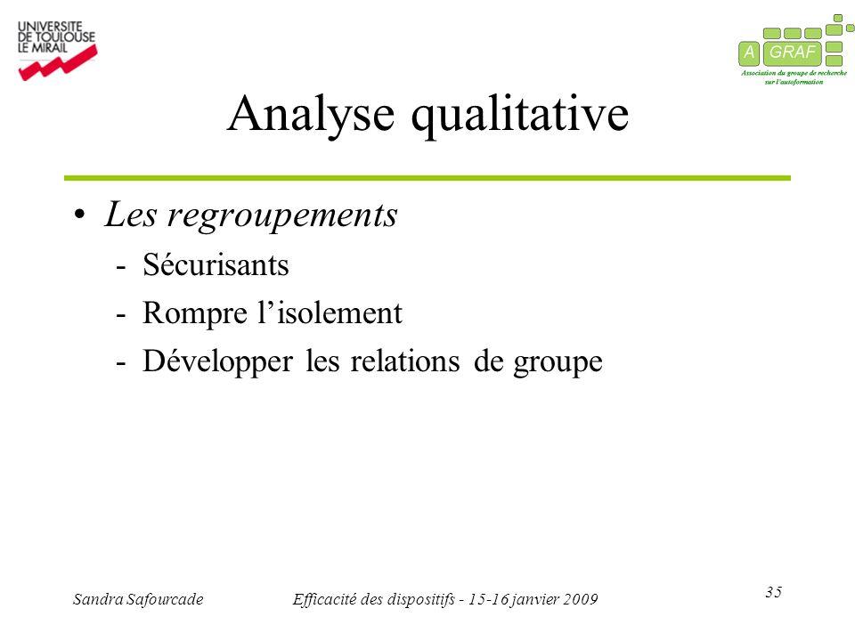 35 Sandra SafourcadeEfficacité des dispositifs - 15-16 janvier 2009 Analyse qualitative Les regroupements -Sécurisants -Rompre lisolement -Développer