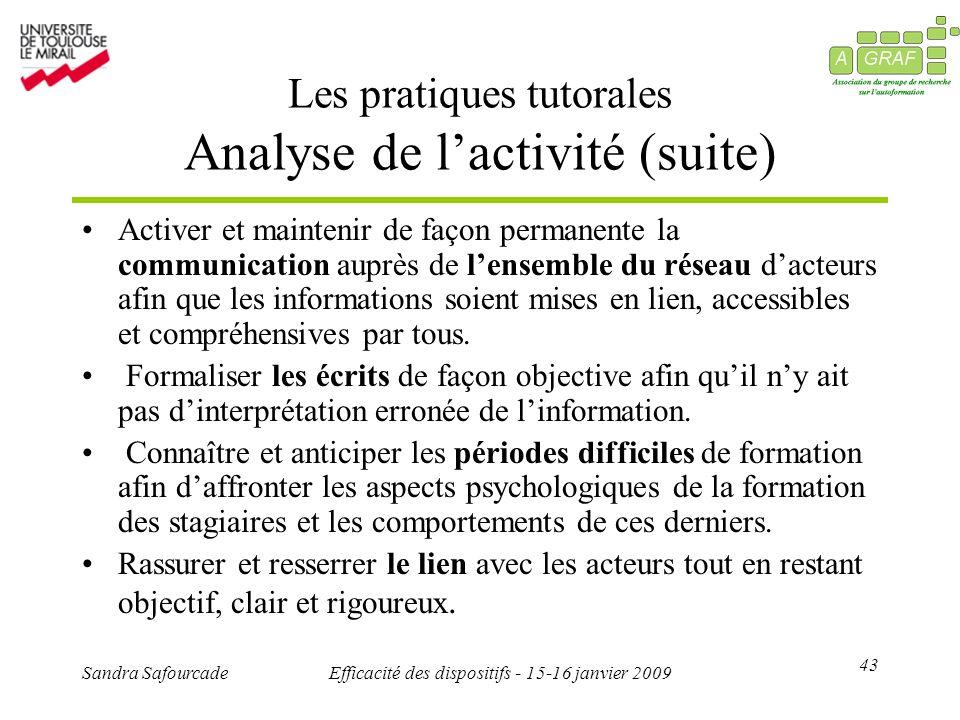43 Sandra SafourcadeEfficacité des dispositifs - 15-16 janvier 2009 Les pratiques tutorales Analyse de lactivité (suite) Activer et maintenir de façon