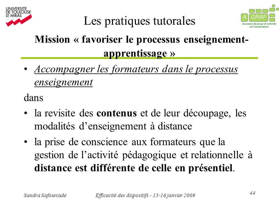 44 Sandra SafourcadeEfficacité des dispositifs - 15-16 janvier 2009 Les pratiques tutorales Mission « favoriser le processus enseignement- apprentissa