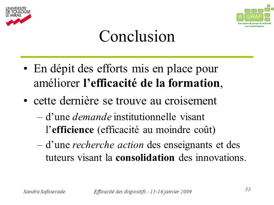 55 Sandra SafourcadeEfficacité des dispositifs - 15-16 janvier 2009 Conclusion En dépit des efforts mis en place pour améliorer lefficacité de la form