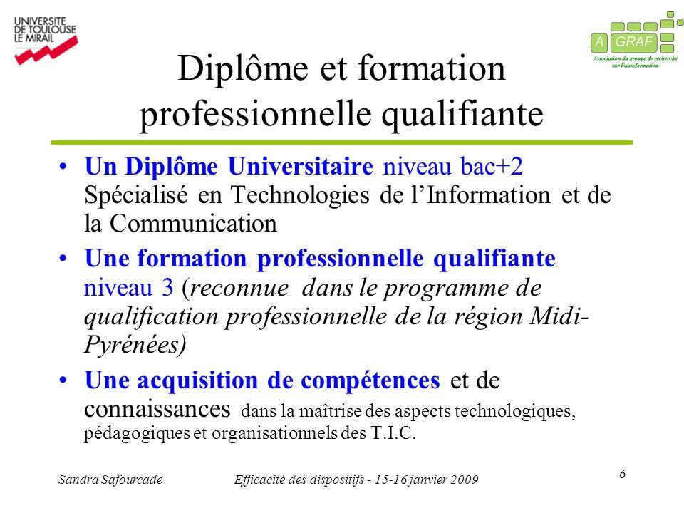 6 Sandra SafourcadeEfficacité des dispositifs - 15-16 janvier 2009 Diplôme et formation professionnelle qualifiante Un Diplôme Universitaire niveau ba