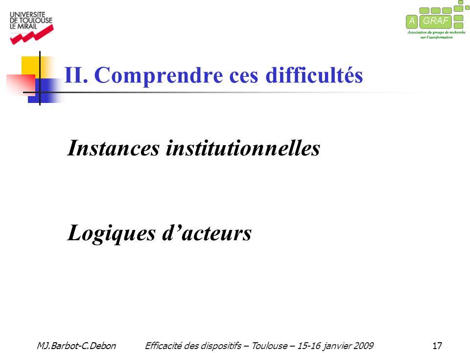 MJ.Barbot-C.DebonEfficacité des dispositifs – Toulouse – 15-16 janvier 200917 II.