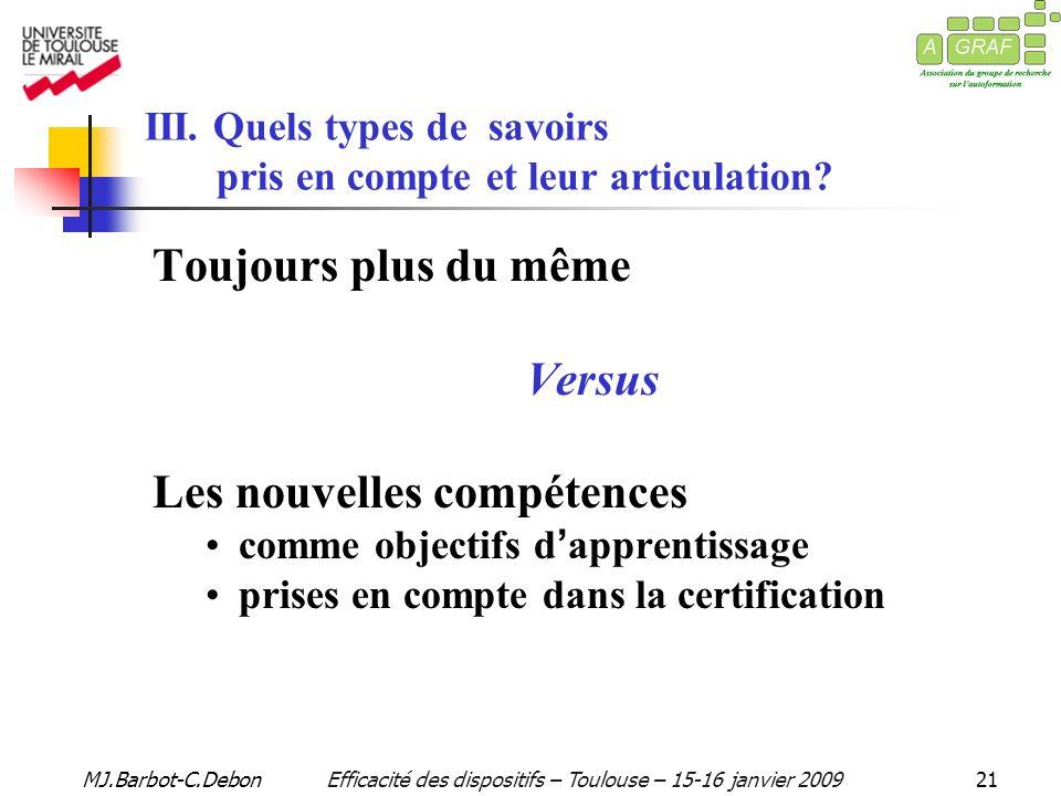 MJ.Barbot-C.DebonEfficacité des dispositifs – Toulouse – 15-16 janvier 200921 III.