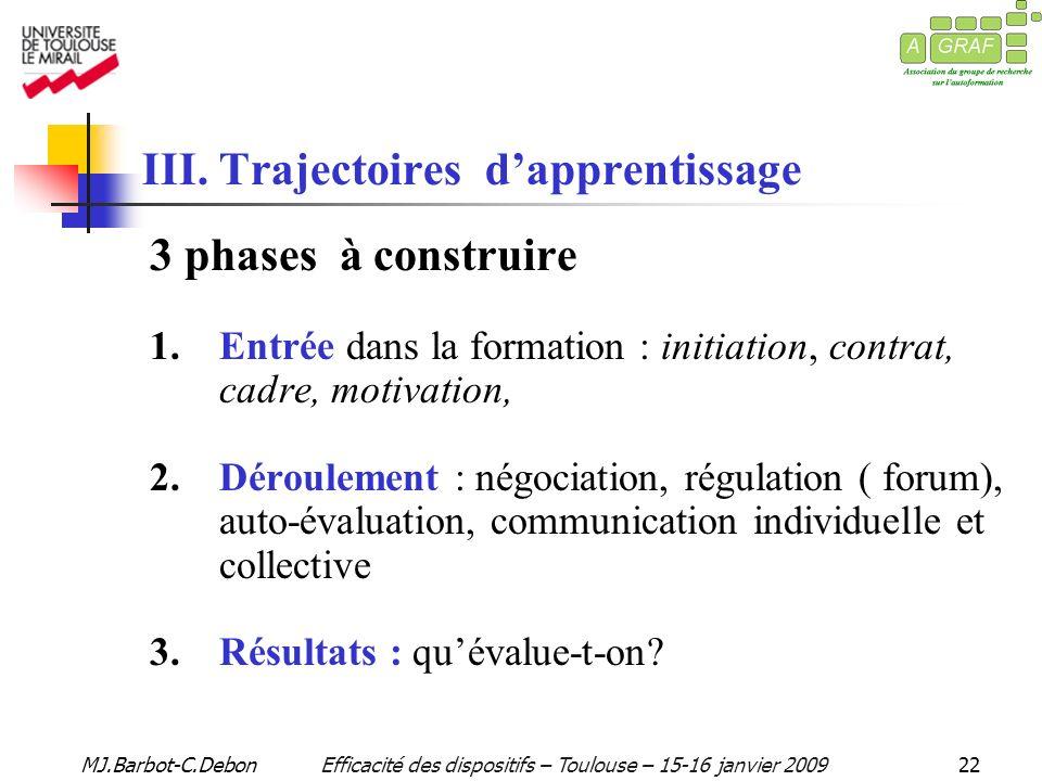 MJ.Barbot-C.DebonEfficacité des dispositifs – Toulouse – 15-16 janvier 200922 III.
