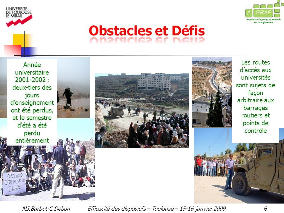 MJ.Barbot-C.DebonEfficacité des dispositifs – Toulouse – 15-16 janvier 20097 Fermeture des universités palestiniennes La plus longue fermeture des universités palestiniennes a eu lieu entre 1988 – 1992 lorsque l éducation palestinienne a été déclarée «illégale».