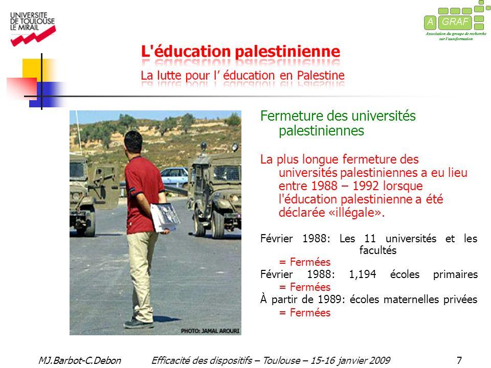 MJ.Barbot-C.DebonEfficacité des dispositifs – Toulouse – 15-16 janvier 20098 LUOQ a vu le jour en 1991, pour proposer aux Palestiniens un enseignement ouvert et à distance.