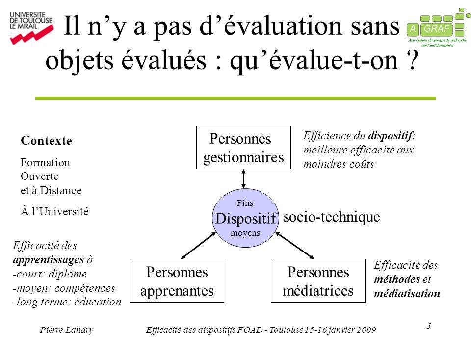 5 Pierre LandryEfficacité des dispositifs FOAD - Toulouse 15-16 janvier 2009 Il ny a pas dévaluation sans objets évalués : quévalue-t-on ? Personnes g