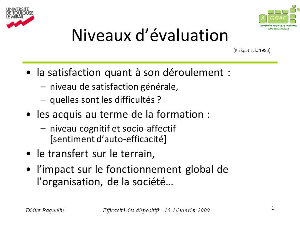 2 Didier PaquelinEfficacité des dispositifs - 15-16 janvier 2009 Niveaux dévaluation (Kirkpatrick, 1983) la satisfaction quant à son déroulement : –ni